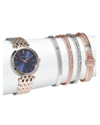 Adrienne Vittadini - Multicolor Two-tone Watch & Crystal Bracelet- Set Of 5 - Lyst