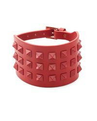 Valentino - Red Studded Leather Bracelet - Lyst