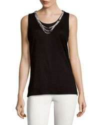 Generation Love - Black Beaded Linen Muscle Tee - Lyst
