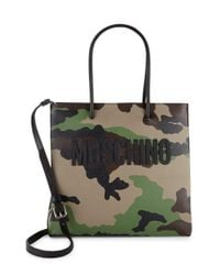 Moschino - Green Camouflage Leather Tote - Lyst
