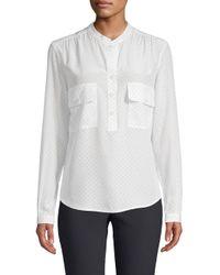 Vince - White Polka-dot Long-sleeve Silk Utility Shirt - Lyst