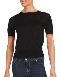 Saks Fifth Avenue Black - Black Cashmere Blend Short Sleeve Top - Lyst