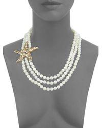 Heidi Daus - White Crystals, Brasstone Necklace - Lyst