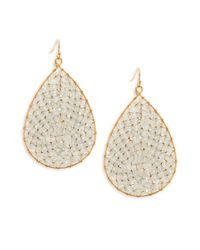 Panacea - Metallic Crystal Beaded Teardrop Earrings - Lyst