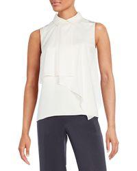 O'2nd - White Marion Asymmetrical Overlay Silk Top - Lyst