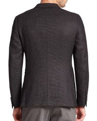 Z Zegna - Black Slim Fit Silk/wool Dot Weave Jacket for Men - Lyst