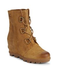 Sorel Brown Joan Of Arctic Leather Wedge Booties