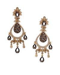 Effy | Metallic 14kt. Yellow Gold Brown And White Diamond Drop Earrings | Lyst