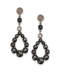 Bavna - Black Spinel Diamond  Sterling Silver Open Teardrop Earrings - Lyst