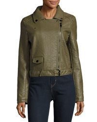Joe's Jeans - Green Textured Long-sleeve Moto Jacket - Lyst