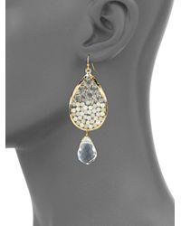 Panacea - White Crystal & Beads Teardrop Earrings - Lyst