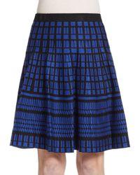 Saks Fifth Avenue Black   Blue Flared Geo-pattern Knit Skirt   Lyst