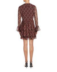 Cinq À Sept - Red Jasmine Ruffled Silk Dress - Lyst