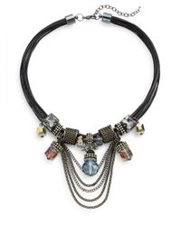 Saks Fifth Avenue | Black Chain Detailed Statement Necklace | Lyst