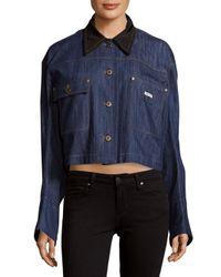 Miu Miu - Blue Collared Denim Cotton Jacket - Lyst