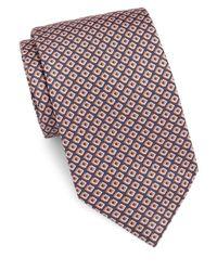 Brioni - Blue Geo-print Silk Tie for Men - Lyst