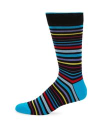 Bugatchi - Black Multicolor Stripe Socks for Men - Lyst