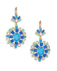 ABS By Allen Schwartz | Blue Jeweled Pendant Drop Earrings | Lyst