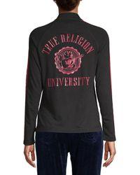 True Religion - Black Graphic Zip-front Jacket - Lyst