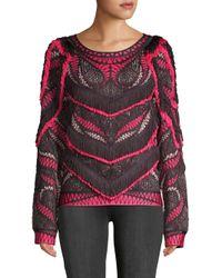 Hervé Léger - Pink Everly Frayed Sweater - Lyst
