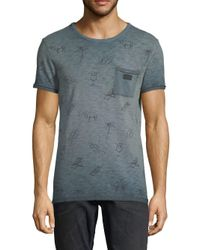 Scotch & Soda - Blue Oil-washed Cotton Tee for Men - Lyst