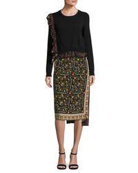 N°21 - Black Asymmetrical Floral-print Silk Skirt - Lyst