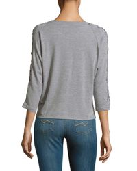 Lea & Viola - Gray Lace Sleeves Top - Lyst