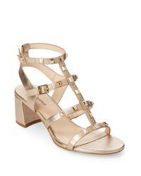 Karl Lagerfeld Metallic Honore Studded Leather Gladiator Sandals