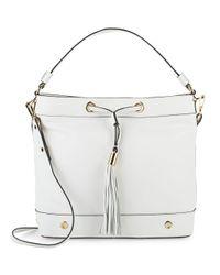 MILLY - White Astor Leather Drawstring Hobo Bag - Lyst