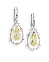 Judith Ripka - White Sapphire, Yellow Drop & Sterling Silver Earrings - Lyst