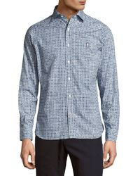 Psycho Bunny - Blue Printed Long-sleeve Casual Button-down Shirt for Men - Lyst