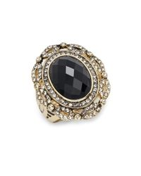 Saks Fifth Avenue - Black Glass & Goldtone Metal Ring - Lyst