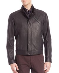 Saks Fifth Avenue - Black Lamb Leather Zip Front Jacket for Men - Lyst