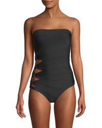 Carmen Marc Valvo - Black One-piece Bandeau Swimsuit - Lyst