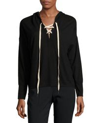 Project Social T - Black Heathered Crisscross-front Hoodie - Lyst