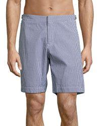 Orlebar Brown - Blue Dane Ii Gingham Cotton Swim Trunks for Men - Lyst