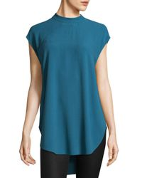 Eileen Fisher - Black Silk Georgette Crepe High Neck Tunic - Lyst