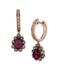 Le Vian - Multicolor Chocolatier Fiery Reds Diamond, Rhodolite & 14k Rose Gold Huggies Earrings - Lyst