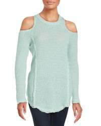 Saks Fifth Avenue - Green Cold Shoulder Sweater - Lyst