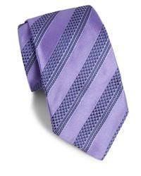 Ike Behar - Purple Striped Silk Tie for Men - Lyst
