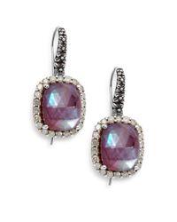 Stephen Dweck | Metallic Verona Mother-of-pearl, Diamond, Garnet & Sterling Silver Doublet Drop Earrings | Lyst