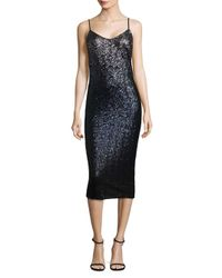 Laundry by Shelli Segal - Black Ombre Midi Cocktail Dress - Lyst