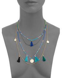Cara - Blue Beaded Tassel Pendant Necklace - Lyst