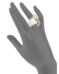 Ippolita - Metallic Rock Candy Clear Quartz, Mother-of-pearl, Moonstone & 18k Yellow Gold Doublet Cluster Ring - Lyst