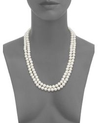 """Saks Fifth Avenue - White 8mm Simulated Pearl Necklace/48"""" - Lyst"""
