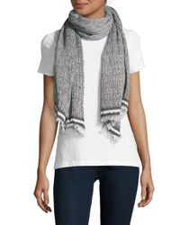 La Fiorentina - Gray Textured Cotton-blend Scarf - Lyst