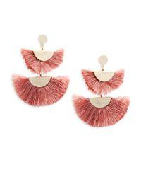 Panacea - Pink Double Fan Statement Earrings - Lyst