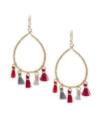 Panacea - Multicolor Beaded Hoop Drop Earrings - Lyst