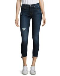 7 For All Mankind - Blue The Ankle Skinny Jeans - Lyst