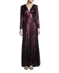 Tadashi Shoji - Multicolor Long Sleeve Sequined Empire Waist Gown - Lyst
